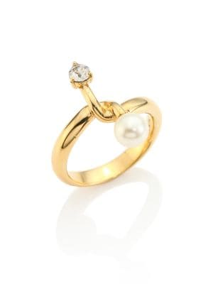 Monroe Faux Pearl & Crystal Ring