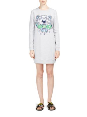 Embroidered Tiger Icon Sweatshirt Dress