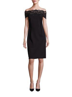 Lace-Trim Off-The-Shoulder Dress
