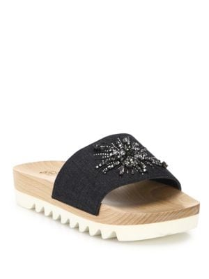 Crystal-Embellished Denim Slides