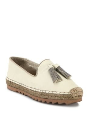 Monili-Tassel Leather Espadrille Loafers