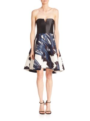 Strapless Notch Neck Printed Dress