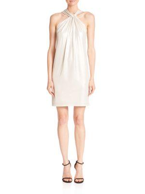 Metallic Jersey Halter Dress