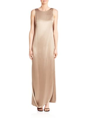 Crepe & Satin Draped Gown