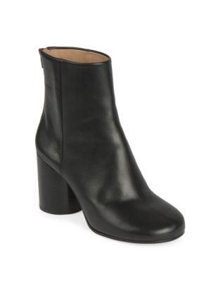 Barrel-Heel Leather Booties