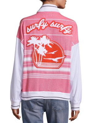Two-Toned Tropical Graphic Varsity Jacket