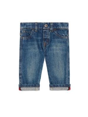 gucci baby babys washed cuffed jeans