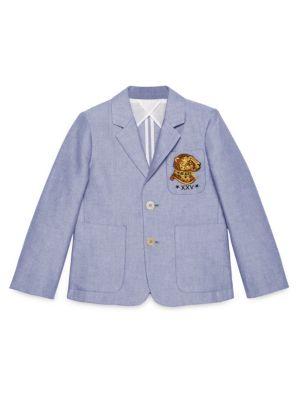 Little Boy's & Boy's Leopard-Detail Oxford Jacket