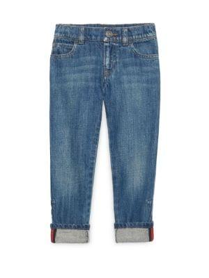 Little Boy's & Boy's Web-Trimmed Cuffed Jeans