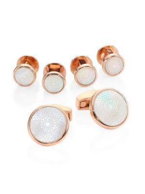 Rotondo Guilloche Mother-of-Pearl Rose Goldplated Cufflinks & Shirt Studs Set