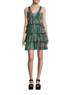 Cotton Printed Tiered Ruffle Dress