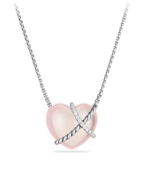 Le Petit Coeur Sculpted Heart Chain Necklace with Gemstone and Diamonds