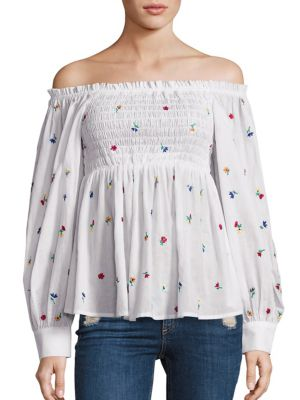 Smocked Cotton Off-The-Shoulder Top