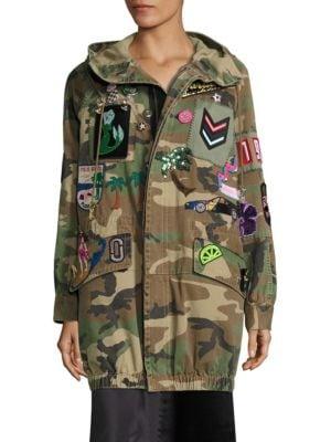 marc jacobs female hooded camouflage anorak jacket