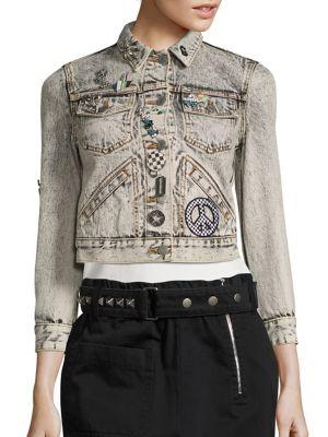 marc jacobs female embellished denim jacket