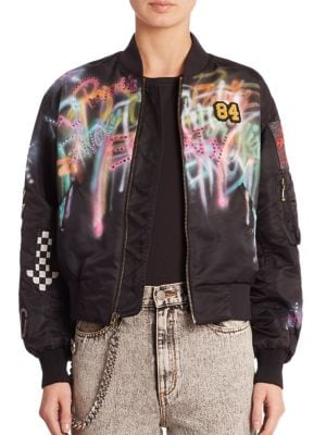 marc jacobs female spray paint bomber jacket
