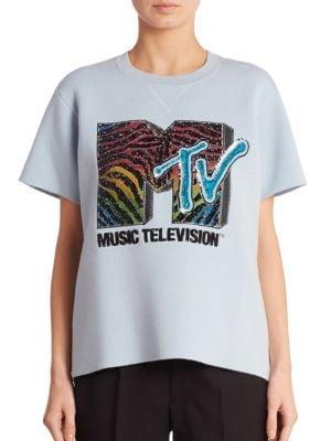 marc jacobs female short sleeve mtv sweatshirt