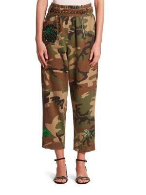 marc jacobs female camouflage belted pants