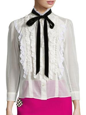 marc jacobs female cotton ruffle blouse