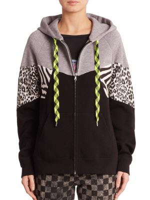 marc jacobs female zebra patchwork hoodie