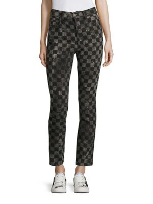marc jacobs female checker printed denim pants