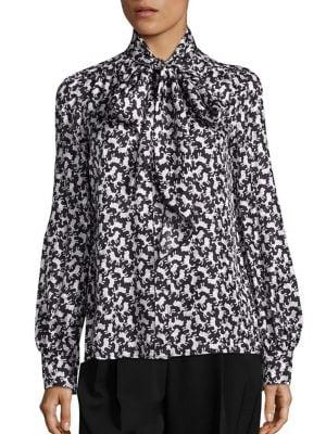 marc jacobs female poodle print silk blouse