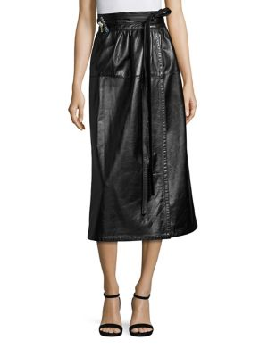 marc jacobs female leather wrap skirt