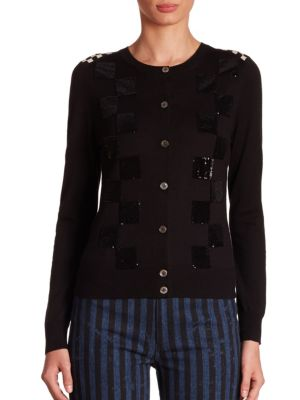 marc jacobs female sequin checkered cardigan
