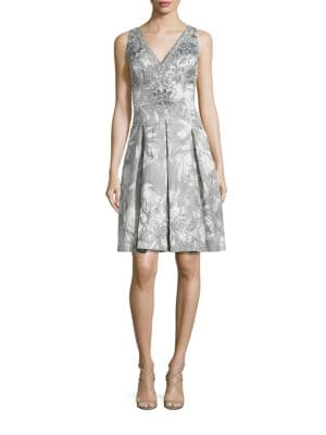 Double V Beaded Brocade Cocktail Dress