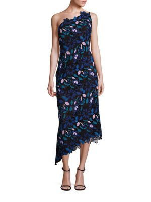 PLATINUM One-Shoulder Floral Lace Dress