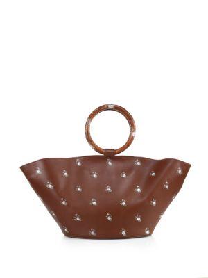 Handpainted Flower Leather Market Bag