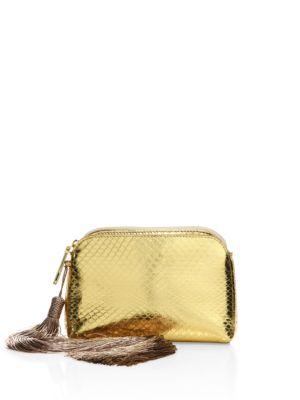 Mini Metallic Python Tassel Wristlet