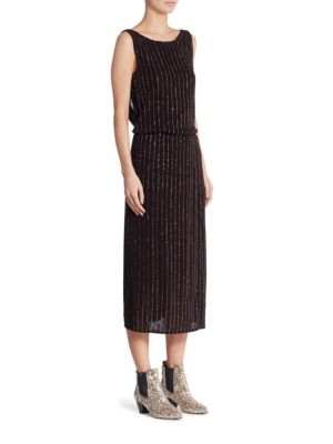 marc jacobs female glitter pinstripe dress