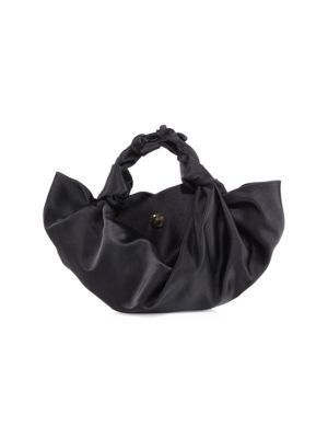 THE ROW SMALL ASCOT KNOTTED SATIN TOTE, BLACK