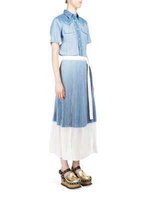 sacai female dungaree pleated dress