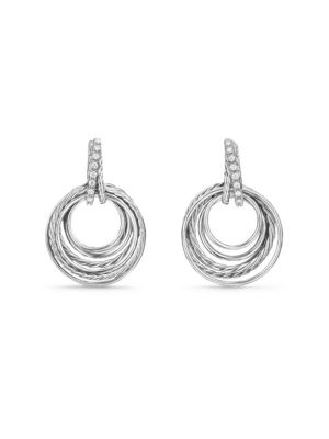Crossover Drop Earrings with Diamonds