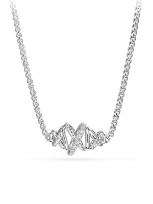 Crossover Single Station Necklace with Diamonds