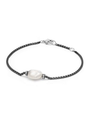 Solari Pearl Single Station Bracelet with Diamonds and Pearl