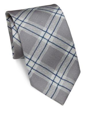 Argyle Patterned Silk Tie