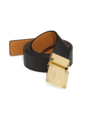Goldtone Brass Buckle Leather Belt