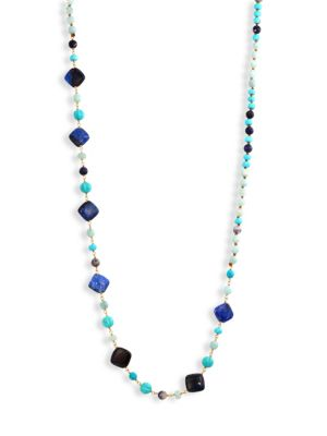 Blue Mix Beaded Strand Necklace