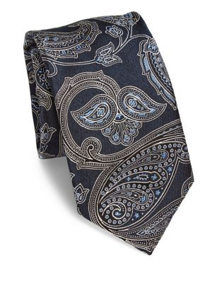 Large Paisley Printed Silk Tie