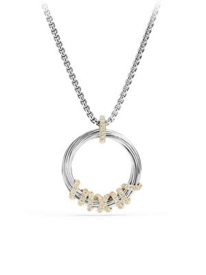 Helena Medium Pendant Necklace with Diamonds and 18K Gold