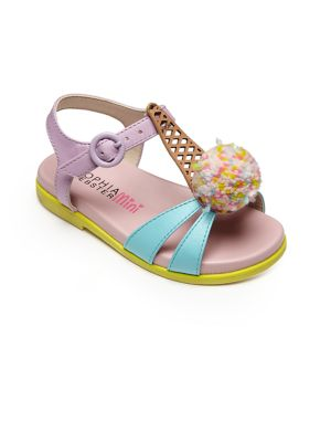 Baby's, Toddler's & Kid'sLoni Open Toe Ice Cream Pompom Leather Sandals