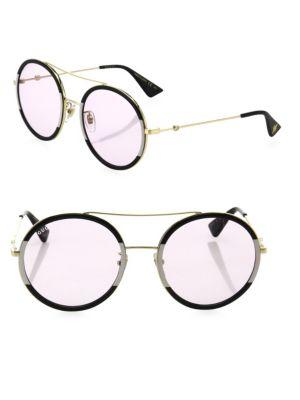 56MM Double-Bridge Round Sunglasses