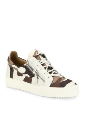 Camo Printed Canvas Low-Top Sneakers