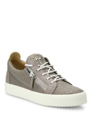 Maryland Croc-Embossed Leather Low-Top Sneakers