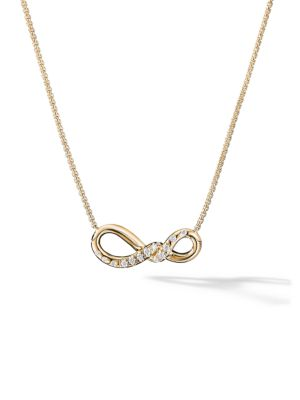 Continuance Small Pendant Necklace with Diamonds in 18K Gold