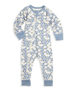 Baby's Asymmetric Zip Front Honeybee Organic Cotton Footsie