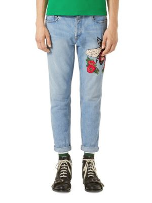 Embroidered Denim Punk Pants